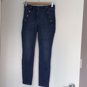 Anne Taylor front button detail cropped jeans.